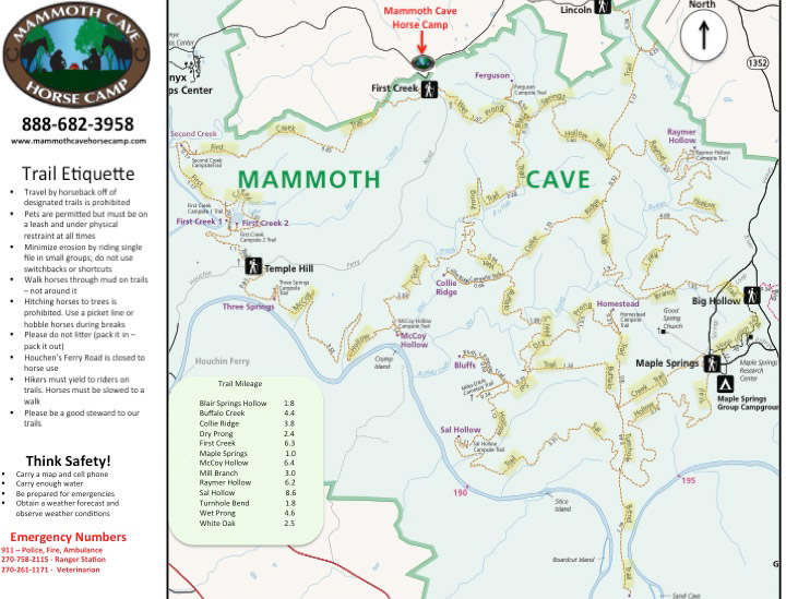 Horse Trails and Maps at Mammoth Cave Horse Camp